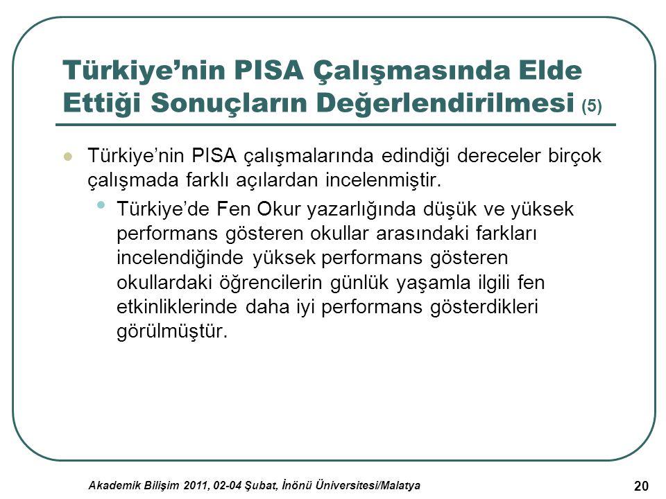 Akademik Bilişim 2011, 02-04 Şubat, İnönü Üniversitesi/Malatya 20 Türkiye'nin PISA Çalışmasında Elde Ettiği Sonuçların Değerlendirilmesi (5) Türkiye'n
