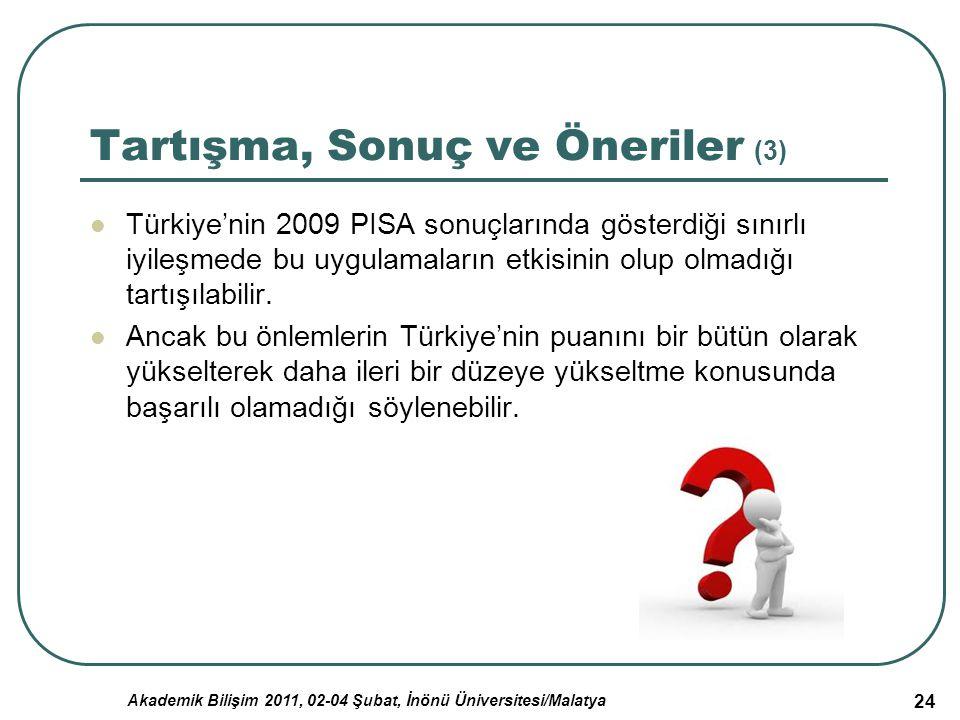 Akademik Bilişim 2011, 02-04 Şubat, İnönü Üniversitesi/Malatya 24 Tartışma, Sonuç ve Öneriler (3) Türkiye'nin 2009 PISA sonuçlarında gösterdiği sınırl