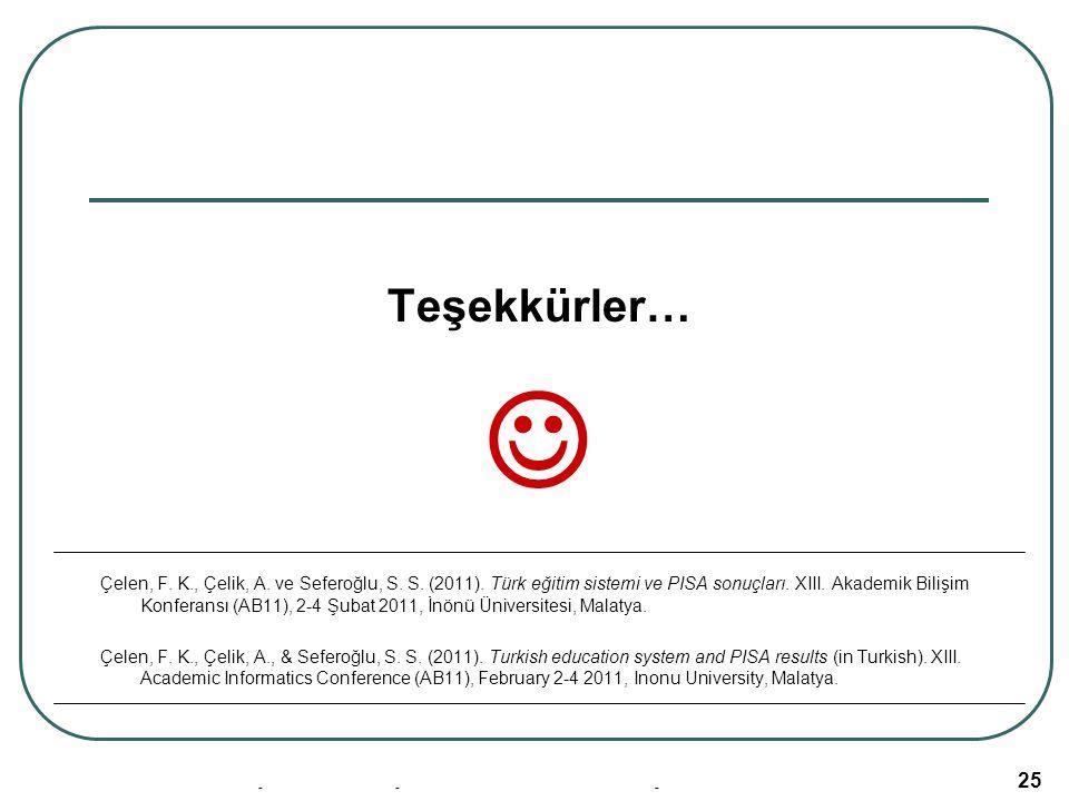 Akademik Bilişim 2011, 02-04 Şubat, İnönü Üniversitesi/Malatya 25 Teşekkürler… Çelen, F. K., Çelik, A. ve Seferoğlu, S. S. (2011). Türk eğitim sistemi