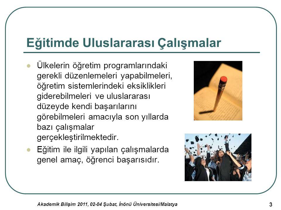 Akademik Bilişim 2011, 02-04 Şubat, İnönü Üniversitesi/Malatya 3 Eğitimde Uluslararası Çalışmalar Ülkelerin öğretim programlarındaki gerekli düzenleme