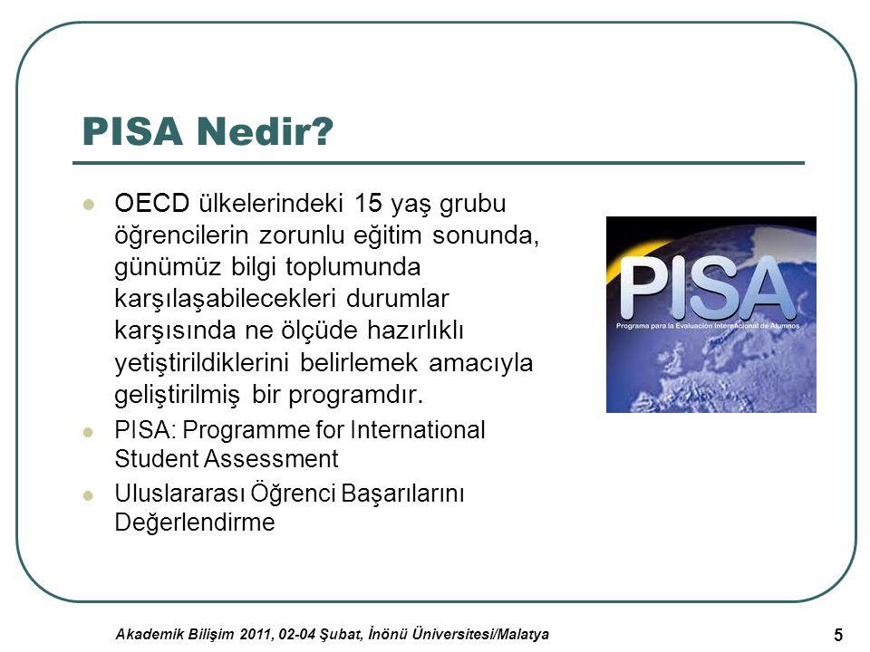 Akademik Bilişim 2011, 02-04 Şubat, İnönü Üniversitesi/Malatya 16 Türkiye'nin PISA Çalışmasında Elde Ettiği Sonuçların Değerlendirilmesi PISA-2003'ün yaptığı değerlendirmelere göre, Türkiye; değerlendirmeye alınan 41 ülke içinde, Matematikte 33.