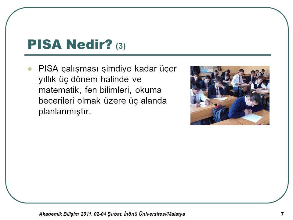 Akademik Bilişim 2011, 02-04 Şubat, İnönü Üniversitesi/Malatya 18 Türkiye'nin PISA Çalışmasında Elde Ettiği Sonuçların Değerlendirilmesi (3) Üçüncü Öğrenci Değerlendirme Programı (PISA) testinin sonuçlarına göre 2009 yılında değerlendirmeye alınan 65 ülkeye göre incelendiğinde Türkiye'nin Fen bilimleri ve Matematik alanlarında 43.sırada, Okuma yeterliliğinde ise 41.sırada olduğu görülmüştür.