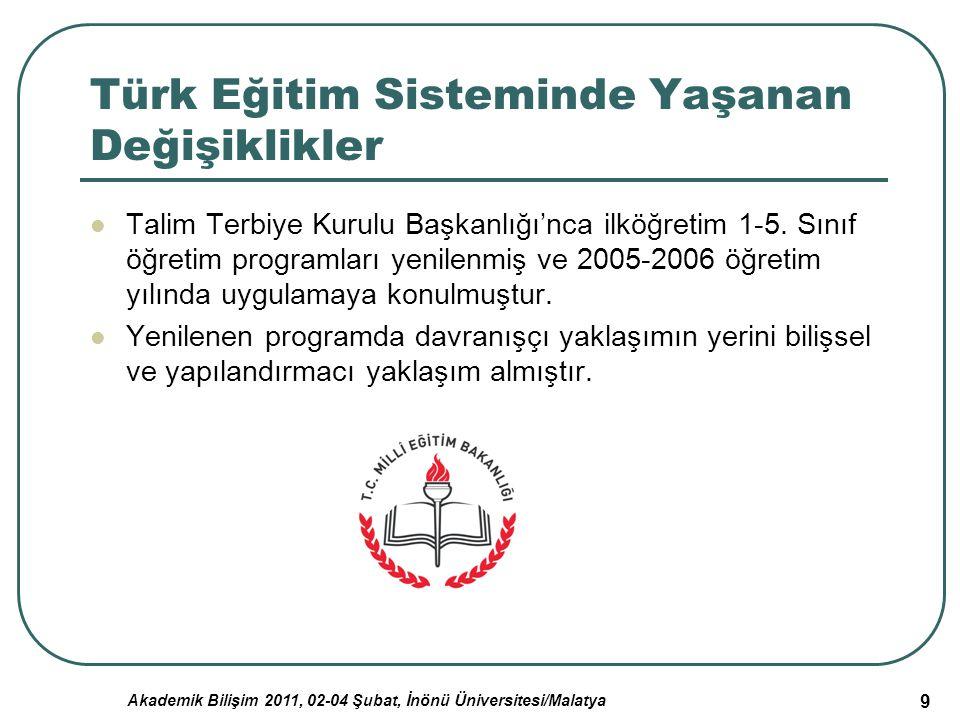Akademik Bilişim 2011, 02-04 Şubat, İnönü Üniversitesi/Malatya 9 Türk Eğitim Sisteminde Yaşanan Değişiklikler Talim Terbiye Kurulu Başkanlığı'nca ilkö