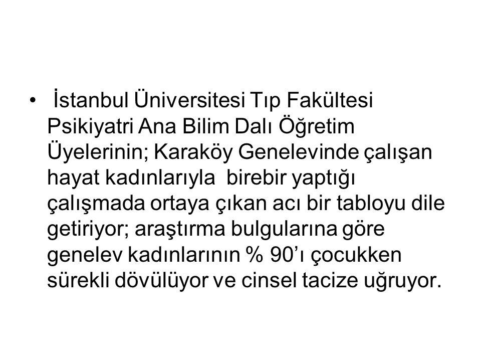 İstanbul Üniversitesi Tıp Fakültesi Psikiyatri Ana Bilim Dalı Öğretim Üyelerinin; Karaköy Genelevinde çalışan hayat kadınlarıyla birebir yaptığı çalış