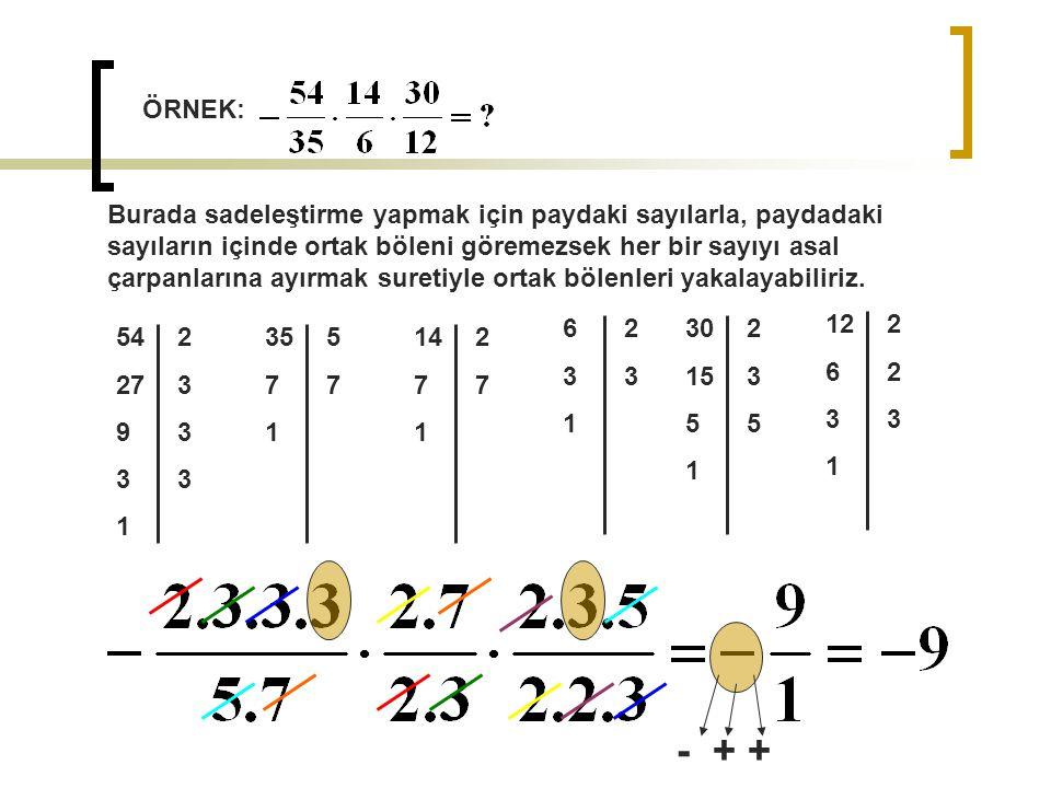 ÖRNEK: Burada sadeleştirme yapmak için paydaki sayılarla, paydadaki sayıların içinde ortak böleni göremezsek her bir sayıyı asal çarpanlarına ayırmak