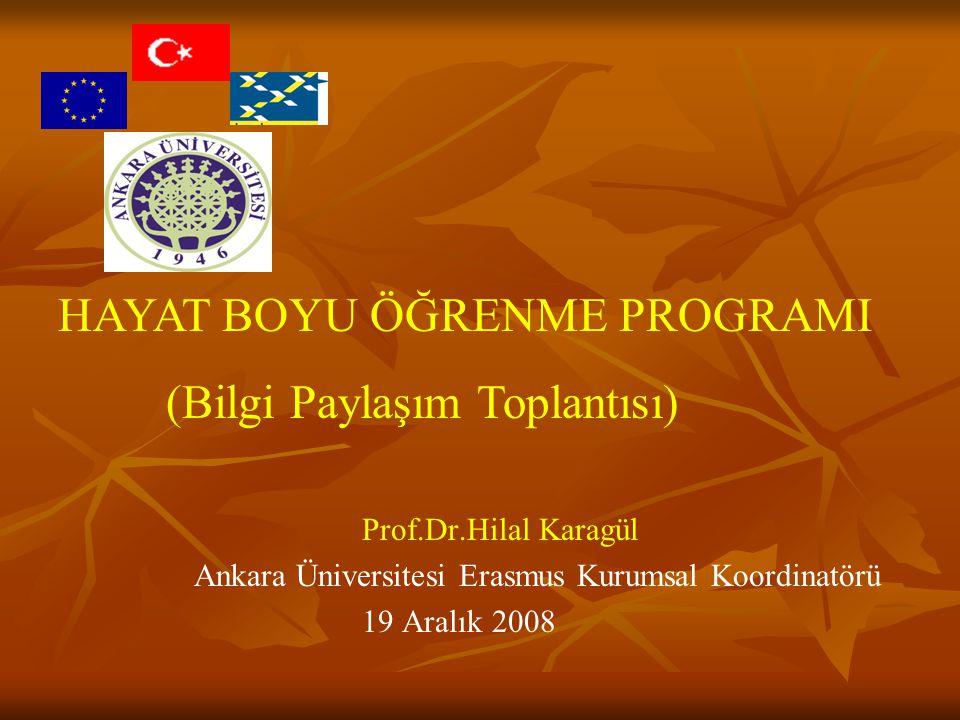 Prof.Dr.Hilal Karagül Ankara Üniversitesi Erasmus Kurumsal Koordinatörü 19 Aralık 2008 HAYAT BOYU ÖĞRENME PROGRAMI (Bilgi Paylaşım Toplantısı)