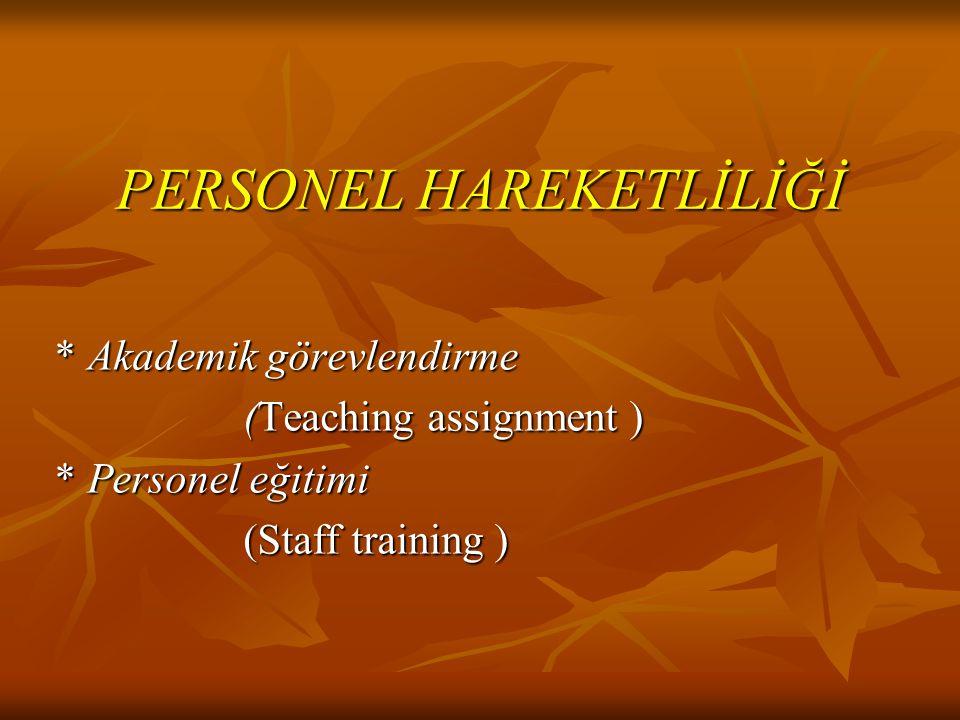 PERSONEL HAREKETLİLİĞİ *Akademik görevlendirme (Teaching assignment ) *Personel eğitimi (Staff training )