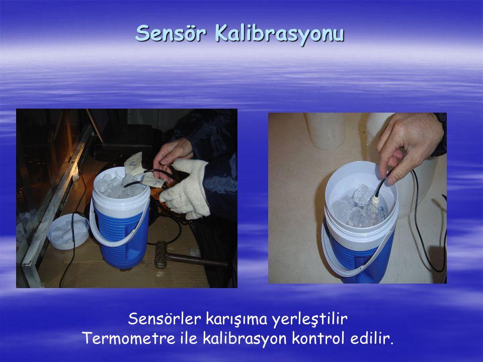 Sensörler karışıma yerleştilir Termometre ile kalibrasyon kontrol edilir.