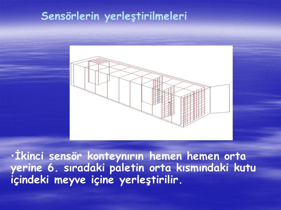 İkinci sensör konteynırın hemen hemen orta yerine 6. sıradaki paletin orta kısmındaki kutu içindeki meyve içine yerleştirilir.