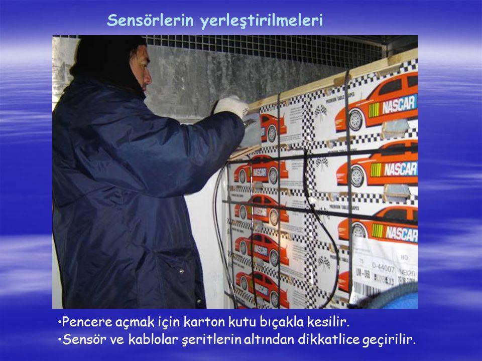 Sensörlerin yerleştirilmeleri Pencere açmak için karton kutu bıçakla kesilir. Sensör ve kablolar şeritlerin altından dikkatlice geçirilir.