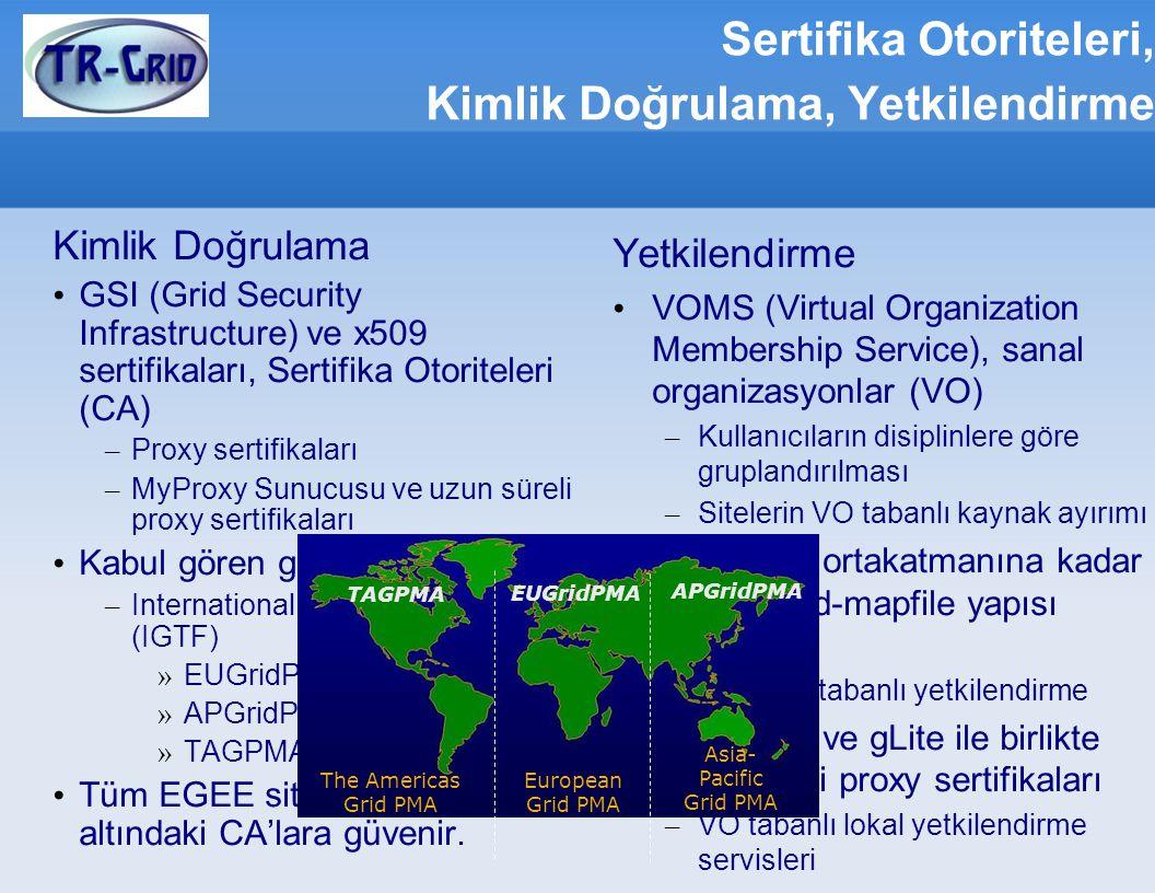 Sertifika Otoriteleri, Kimlik Doğrulama, Yetkilendirme Kimlik Doğrulama GSI (Grid Security Infrastructure) ve x509 sertifikaları, Sertifika Otoriteler