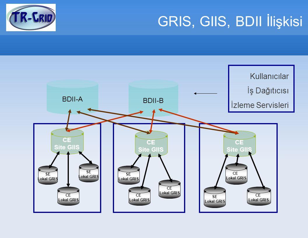 GRIS, GIIS, BDII İlişkisi SE Lokal GRIS SE Lokal GRIS CE Lokal GRIS SE Lokal GRIS CE Lokal GRIS CE Lokal GRIS CE Lokal GRIS SE Lokal GRIS CE Lokal GRIS CE Site GIIS CE Site GIIS CE Site GIIS BDII-A BDII-B Kullanıcılar İş Dağıtıcısı İzleme Servisleri
