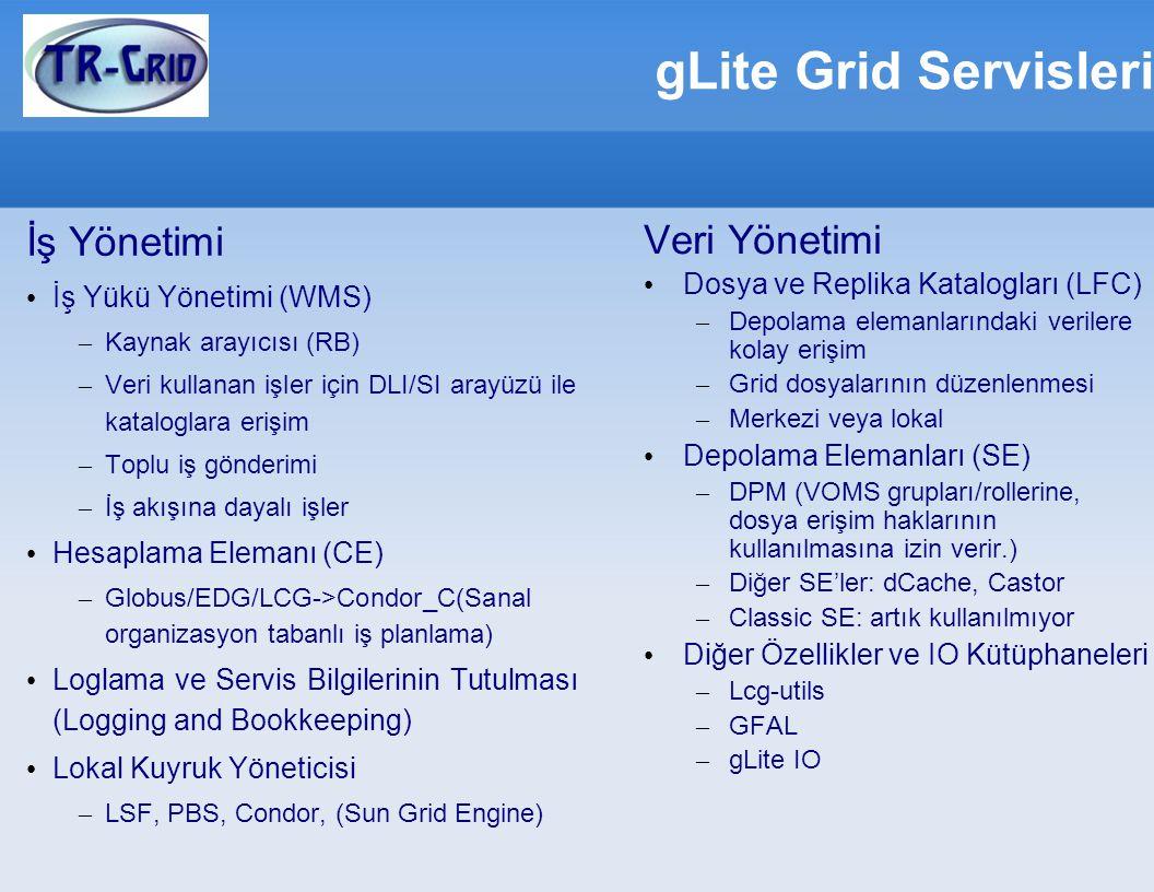 gLite Grid Servisleri İş Yönetimi İş Yükü Yönetimi (WMS) – Kaynak arayıcısı (RB) – Veri kullanan işler için DLI/SI arayüzü ile kataloglara erişim – Toplu iş gönderimi – İş akışına dayalı işler Hesaplama Elemanı (CE) – Globus/EDG/LCG->Condor_C(Sanal organizasyon tabanlı iş planlama) Loglama ve Servis Bilgilerinin Tutulması (Logging and Bookkeeping) Lokal Kuyruk Yöneticisi – LSF, PBS, Condor, (Sun Grid Engine) Veri Yönetimi Dosya ve Replika Katalogları (LFC) – Depolama elemanlarındaki verilere kolay erişim – Grid dosyalarının düzenlenmesi – Merkezi veya lokal Depolama Elemanları (SE) – DPM (VOMS grupları/rollerine, dosya erişim haklarının kullanılmasına izin verir.) – Diğer SE'ler: dCache, Castor – Classic SE: artık kullanılmıyor Diğer Özellikler ve IO Kütüphaneleri – Lcg-utils – GFAL – gLite IO