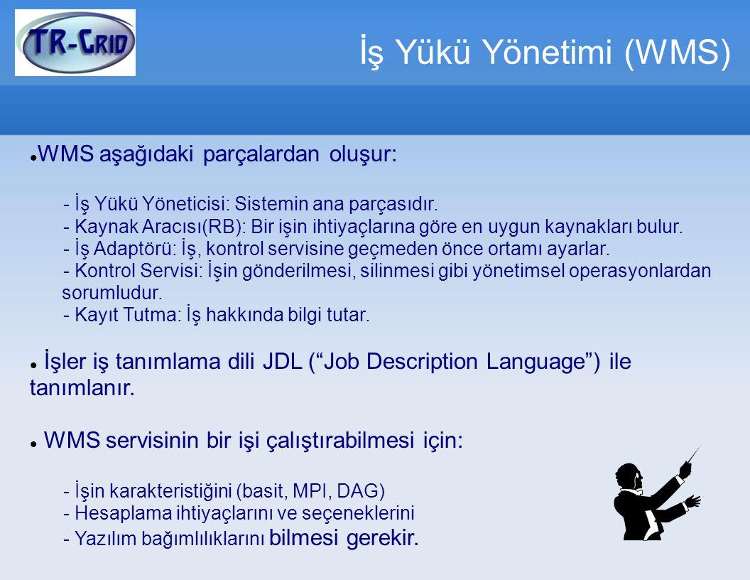 İş Yükü Yönetimi (WMS) WMS aşağıdaki parçalardan oluşur: - İş Yükü Yöneticisi: Sistemin ana parçasıdır. - Kaynak Aracısı(RB): Bir işin ihtiyaçlarına g