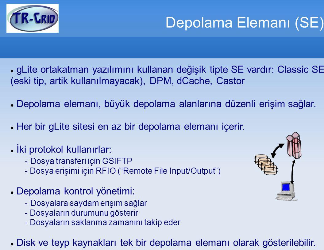 Depolama Elemanı (SE) gLite ortakatman yazılımını kullanan değişik tipte SE vardır: Classic SE (eski tip, artik kullanılmayacak), DPM, dCache, Castor