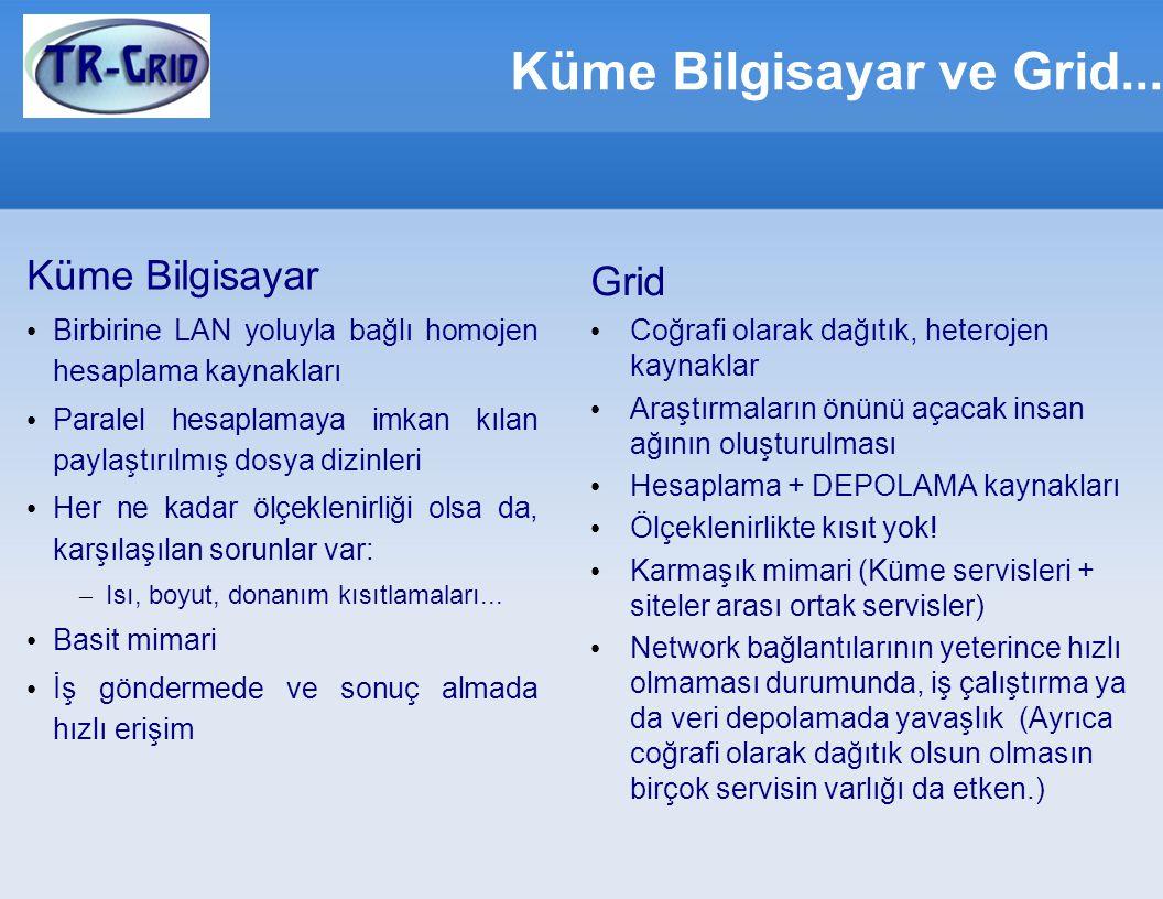Bilgi Servisleri (GRIS, GIIS, BDII) Bilgi servisleri, grid kaynakları ve durumları hakkında bilgi verir.