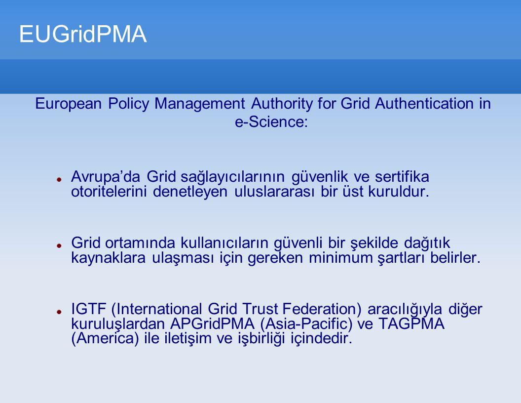 EUGridPMA European Policy Management Authority for Grid Authentication in e-Science: Avrupa'da Grid sağlayıcılarının güvenlik ve sertifika otoritelerini denetleyen uluslararası bir üst kuruldur.