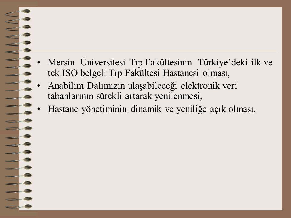 Mersin Üniversitesi Tıp Fakültesinin Türkiye'deki ilk ve tek ISO belgeli Tıp Fakültesi Hastanesi olması, Anabilim Dalımızın ulaşabileceği elektronik veri tabanlarının sürekli artarak yenilenmesi, Hastane yönetiminin dinamik ve yeniliğe açık olması.
