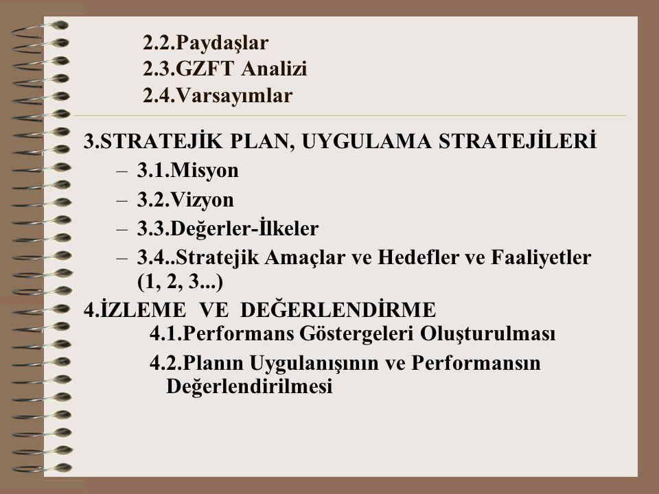 2.2.Paydaşlar 2.3.GZFT Analizi 2.4.Varsayımlar 3.STRATEJİK PLAN, UYGULAMA STRATEJİLERİ –3.1.Misyon –3.2.Vizyon –3.3.Değerler-İlkeler –3.4..Stratejik Amaçlar ve Hedefler ve Faaliyetler (1, 2, 3...) 4.İZLEME VE DEĞERLENDİRME 4.1.Performans Göstergeleri Oluşturulması 4.2.Planın Uygulanışının ve Performansın Değerlendirilmesi