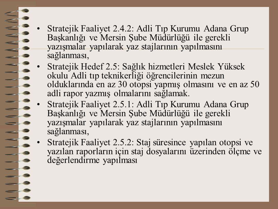 Stratejik Faaliyet 2.4.2: Adli Tıp Kurumu Adana Grup Başkanlığı ve Mersin Şube Müdürlüğü ile gerekli yazışmalar yapılarak yaz stajlarının yapılmasını sağlanması, Stratejik Hedef 2.5: Sağlık hizmetleri Meslek Yüksek okulu Adli tıp teknikerliği öğrencilerinin mezun olduklarında en az 30 otopsi yapmış olmasını ve en az 50 adli rapor yazmış olmalarını sağlamak.