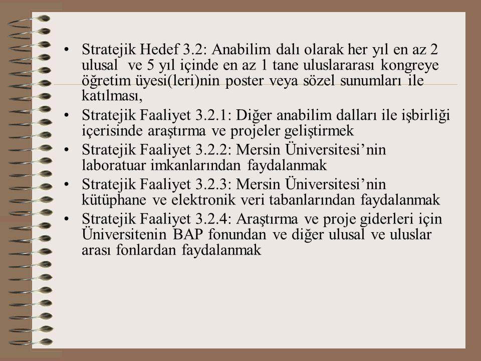 Stratejik Hedef 3.2: Anabilim dalı olarak her yıl en az 2 ulusal ve 5 yıl içinde en az 1 tane uluslararası kongreye öğretim üyesi(leri)nin poster veya sözel sunumları ile katılması, Stratejik Faaliyet 3.2.1: Diğer anabilim dalları ile işbirliği içerisinde araştırma ve projeler geliştirmek Stratejik Faaliyet 3.2.2: Mersin Üniversitesi'nin laboratuar imkanlarından faydalanmak Stratejik Faaliyet 3.2.3: Mersin Üniversitesi'nin kütüphane ve elektronik veri tabanlarından faydalanmak Stratejik Faaliyet 3.2.4: Araştırma ve proje giderleri için Üniversitenin BAP fonundan ve diğer ulusal ve uluslar arası fonlardan faydalanmak