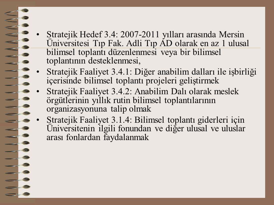 Stratejik Hedef 3.4: 2007-2011 yılları arasında Mersin Üniversitesi Tıp Fak.