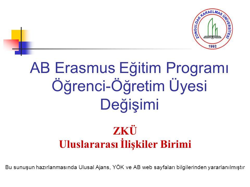 AB Erasmus Eğitim Programı Öğrenci-Öğretim Üyesi Değişimi ZKÜ Uluslararası İlişkiler Birimi Bu sunuşun hazırlanmasında Ulusal Ajans, YÖK ve AB web say
