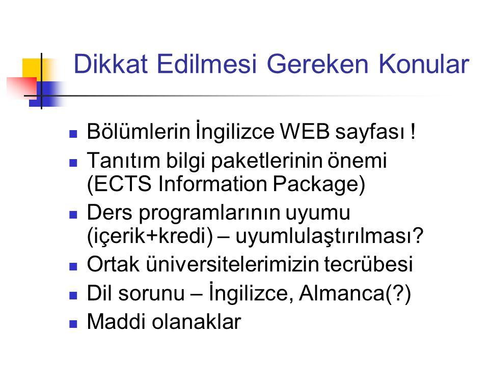 Dikkat Edilmesi Gereken Konular Bölümlerin İngilizce WEB sayfası ! Tanıtım bilgi paketlerinin önemi (ECTS Information Package) Ders programlarının uyu