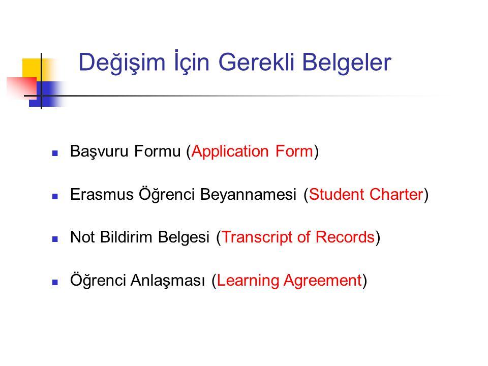 Değişim İçin Gerekli Belgeler Başvuru Formu (Application Form) Erasmus Öğrenci Beyannamesi (Student Charter) Not Bildirim Belgesi (Transcript of Recor