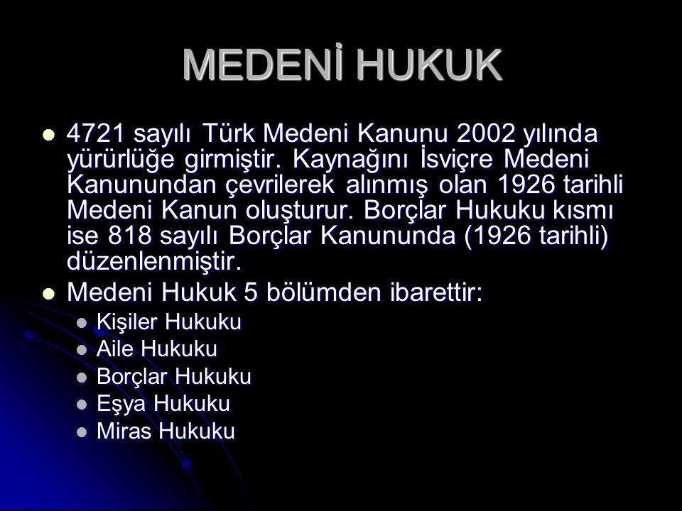 MEDENİ HUKUK 4721 sayılı Türk Medeni Kanunu 2002 yılında yürürlüğe girmiştir.