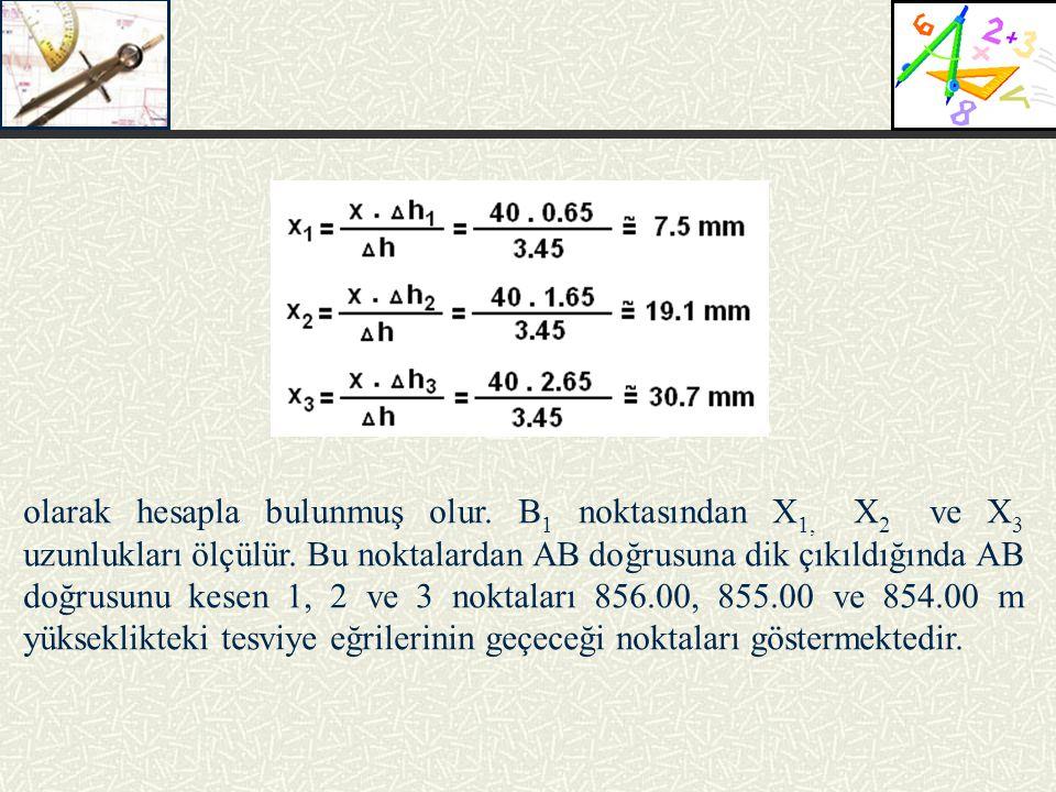 olarak hesapla bulunmuş olur. B 1 noktasından X 1, X 2 ve X 3 uzunlukları ölçülür. Bu noktalardan AB doğrusuna dik çıkıldığında AB doğrusunu kesen 1,