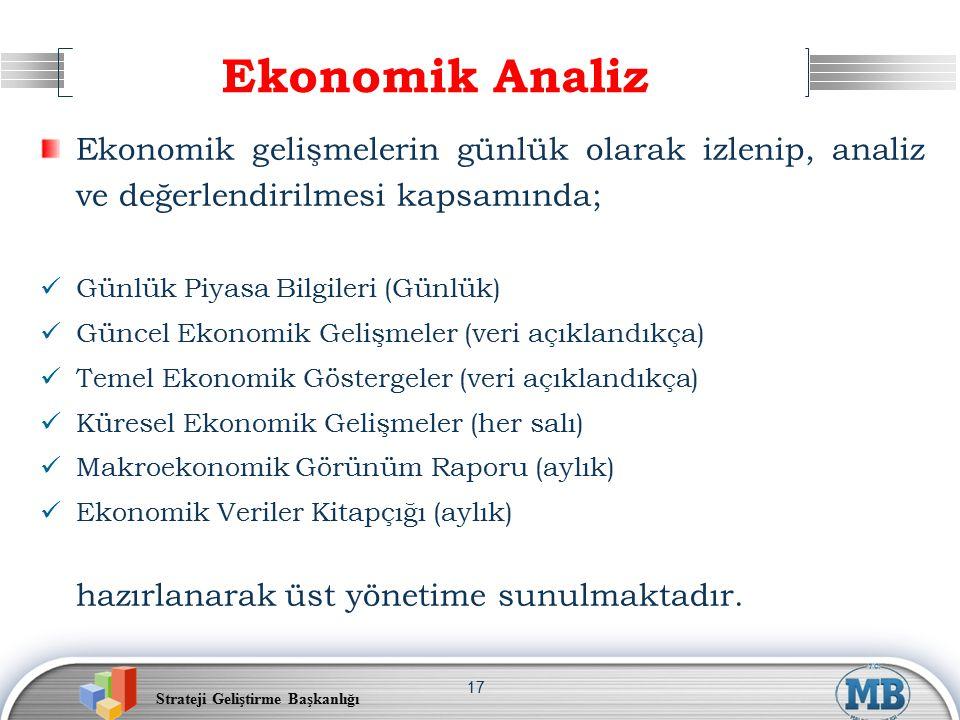 Strateji Geliştirme Başkanlığı 17 Ekonomik Analiz Ekonomik gelişmelerin günlük olarak izlenip, analiz ve değerlendirilmesi kapsamında; Günlük Piyasa Bilgileri (Günlük) Güncel Ekonomik Gelişmeler (veri açıklandıkça) Temel Ekonomik Göstergeler (veri açıklandıkça) Küresel Ekonomik Gelişmeler (her salı) Makroekonomik Görünüm Raporu (aylık) Ekonomik Veriler Kitapçığı (aylık) hazırlanarak üst yönetime sunulmaktadır.