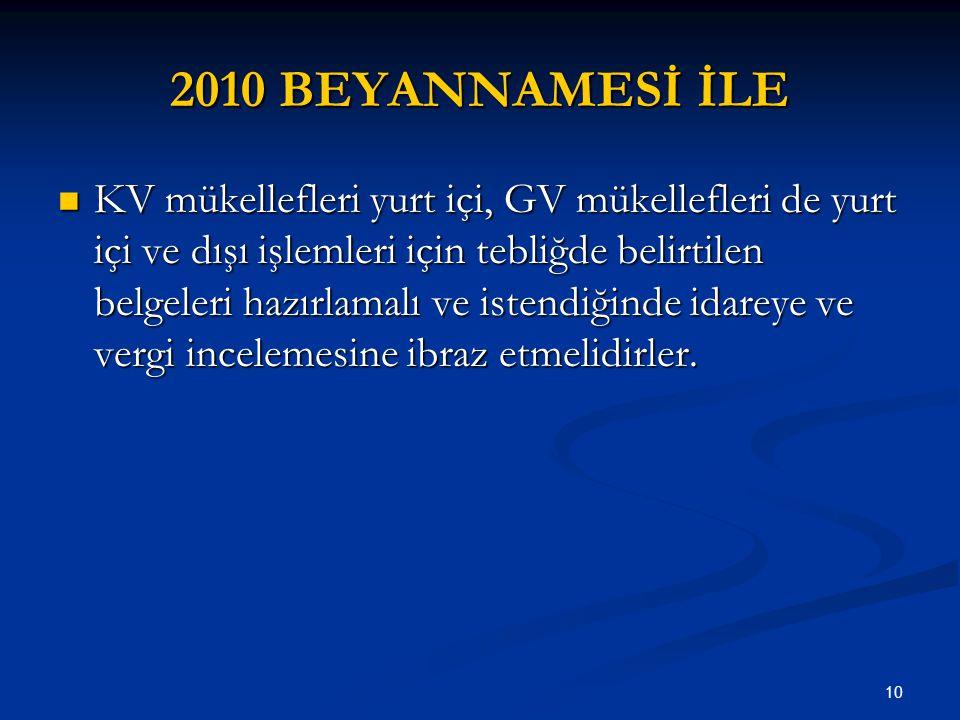 10 2010 BEYANNAMESİ İLE KV mükellefleri yurt içi, GV mükellefleri de yurt içi ve dışı işlemleri için tebliğde belirtilen belgeleri hazırlamalı ve iste