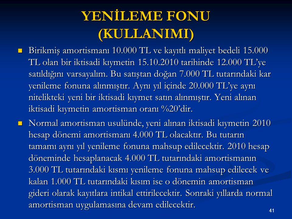 41 YENİLEME FONU (KULLANIMI) Birikmiş amortismanı 10.000 TL ve kayıtlı maliyet bedeli 15.000 TL olan bir iktisadi kıymetin 15.10.2010 tarihinde 12.000 TL'ye satıldığını varsayalım.