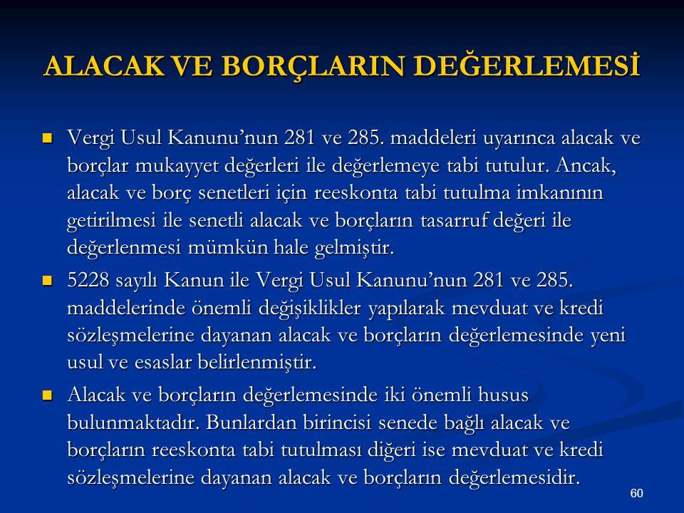 60 ALACAK VE BORÇLARIN DEĞERLEMESİ Vergi Usul Kanunu'nun 281 ve 285.