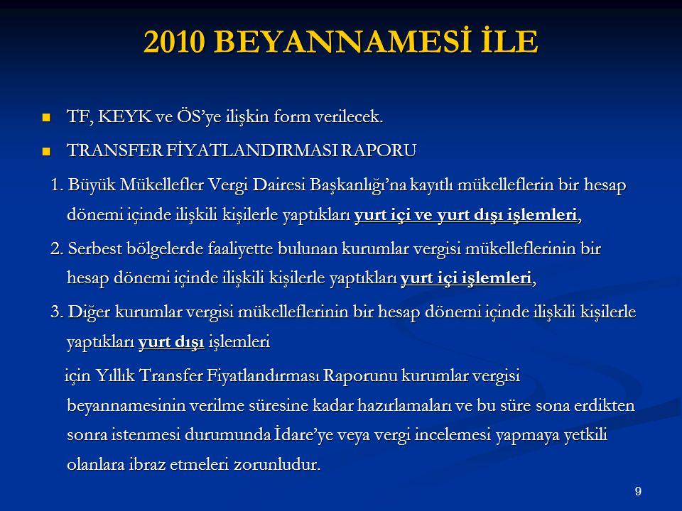 9 2010 BEYANNAMESİ İLE TF, KEYK ve ÖS'ye ilişkin form verilecek.