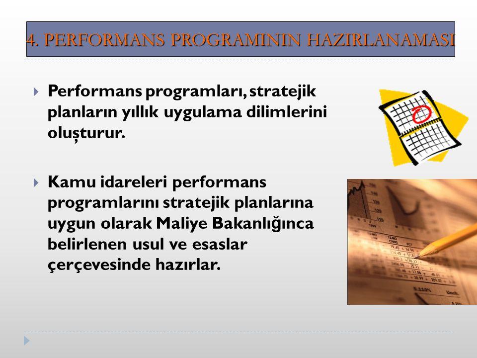  Performans programları, stratejik planların yıllık uygulama dilimlerini oluşturur.