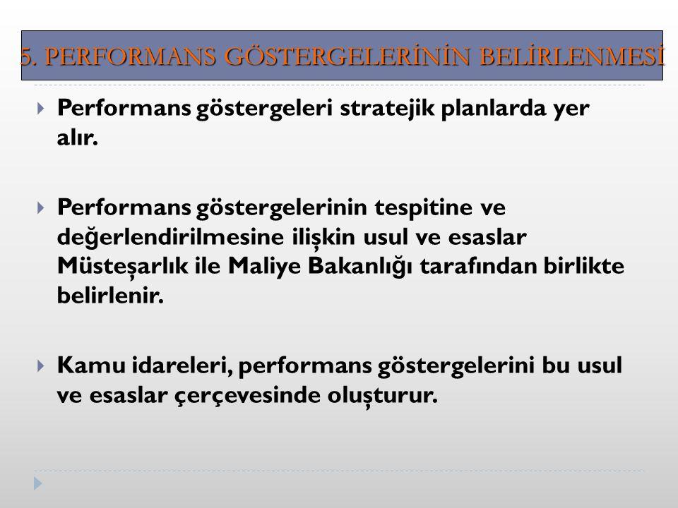  Performans göstergeleri stratejik planlarda yer alır.