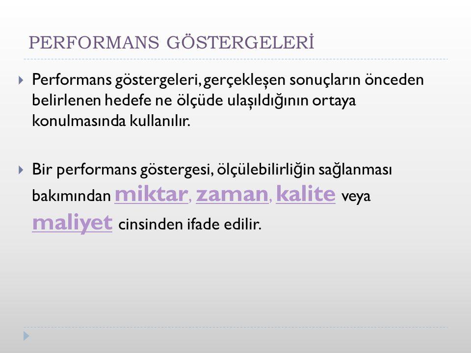  Performans göstergeleri, gerçekleşen sonuçların önceden belirlenen hedefe ne ölçüde ulaşıldı ğ ının ortaya konulmasında kullanılır.
