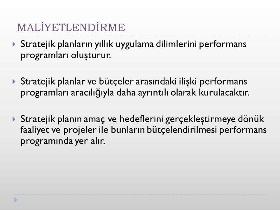 MALİYETLENDİRME  Stratejik planların yıllık uygulama dilimlerini performans programları oluşturur.
