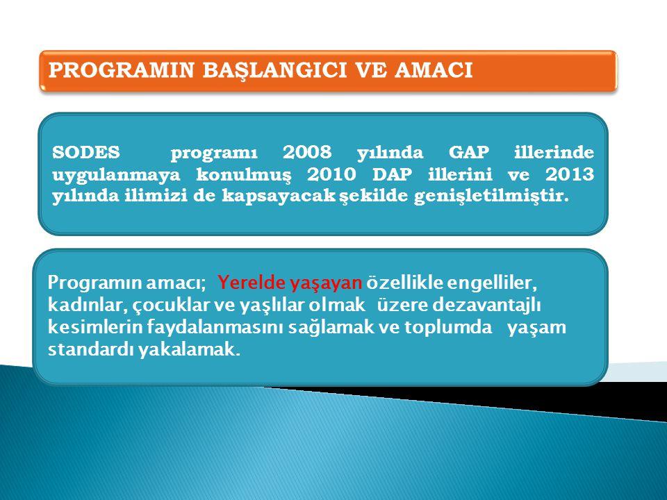 PROGRAMIN BAŞLANGICI VE AMACI SODES programı 2008 yılında GAP illerinde uygulanmaya konulmuş 2010 DAP illerini ve 2013 yılında ilimizi de kapsayacak şekilde genişletilmiştir.