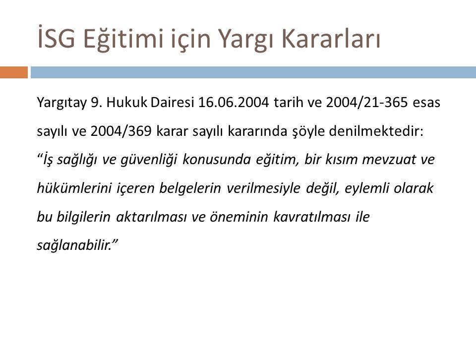 İSG Eğitimi için Yargı Kararları Yargıtay 9.