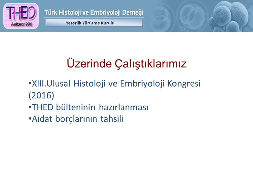 Üzerinde Çalıştıklarımız XIII.Ulusal Histoloji ve Embriyoloji Kongresi (2016) THED bülteninin hazırlanması Aidat borçlarının tahsili