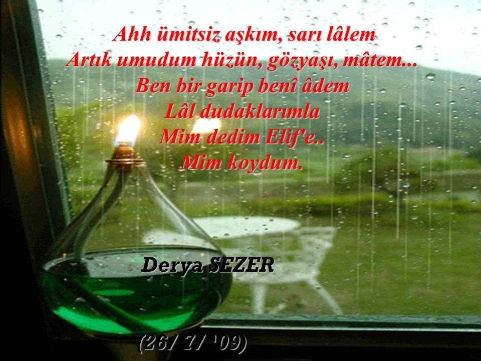 Derya SEZER (26/ 7/ 09) Ahh ümitsiz aşkım, sarı lâlem Artık umudum hüzün, gözyaşı, mâtem...