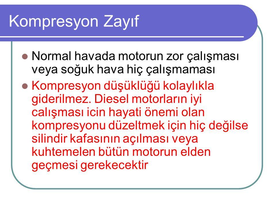 Kompresyon Zayıf Normal havada motorun zor çalışması veya soğuk hava hiç çalışmaması Kompresyon düşüklüğü kolaylıkla giderilmez. Diesel motorların iyi