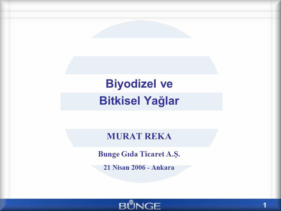 1 Biyodizel ve Bitkisel Yağlar MURAT REKA Bunge Gıda Ticaret A.Ş. 21 Nisan 2006 - Ankara
