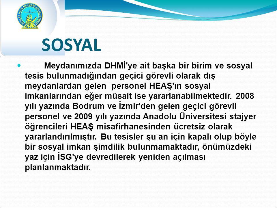 SOSYAL Meydanımızda DHMİ ye ait başka bir birim ve sosyal tesis bulunmadığından geçici görevli olarak dış meydanlardan gelen personel HEAŞ ın sosyal imkanlarından eğer müsait ise yararlanabilmektedir.