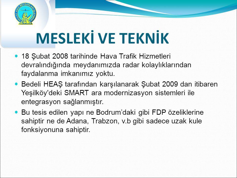 MESLEKİ VE TEKNİK 18 Şubat 2008 tarihinde Hava Trafik Hizmetleri devralındığında meydanımızda radar kolaylıklarından faydalanma imkanımız yoktu.