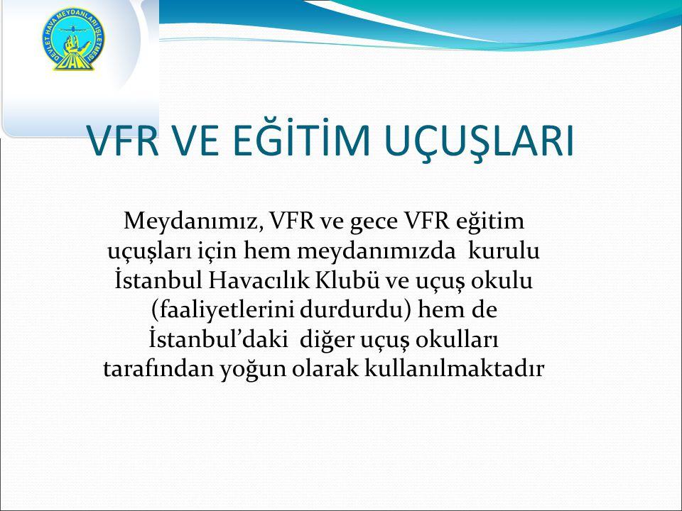 VFR VE EĞİTİM UÇUŞLARI Meydanımız, VFR ve gece VFR eğitim uçuşları için hem meydanımızda kurulu İstanbul Havacılık Klubü ve uçuş okulu (faaliyetlerini durdurdu) hem de İstanbul'daki diğer uçuş okulları tarafından yoğun olarak kullanılmaktadır
