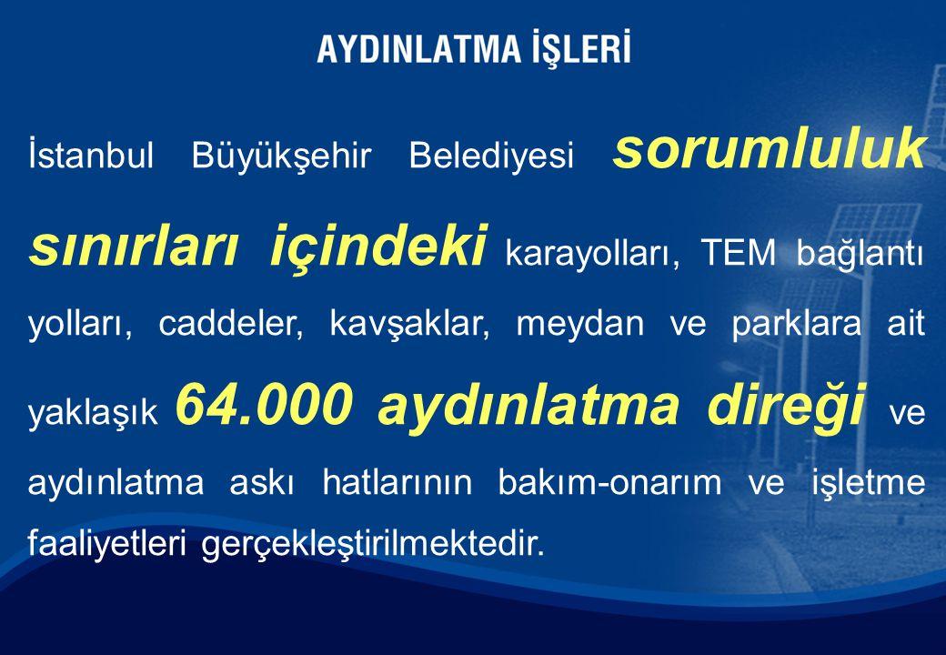 İstanbul Büyükşehir Belediyesi sorumluluk sınırları içindeki karayolları, TEM bağlantı yolları, caddeler, kavşaklar, meydan ve parklara ait yaklaşık 6